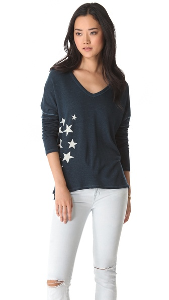 SUNDRY Long Sleeve V Neck Tee