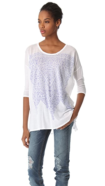 SUNDRY Printed 3/4 Sleeve Top