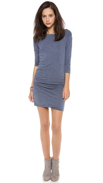 SUNDRY 3/4 Sleeve Ruched Dress