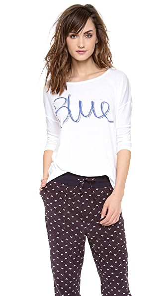 SUNDRY Blue 3/4 Sleeve Top