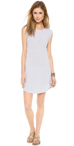 Shop SUNDRY online and buy SUNDRY Muscle Dress - A soft curve shapes the hem of a casual, striped jersey SUNDRY dress. Cuffed dolman sleeves. Unlined.  Fabric: Jersey. 95% cotton/5% spandex. Wash cold. Made in the USA.  MEASUREMENTS Length: 36in / 91.5cm, from shoulder - Old Sal