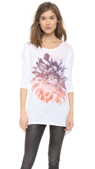 SUNDRY Gradient Flower Long Sleeve Top