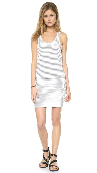 SUNDRY Summer Stripe Ruched Tank Dress