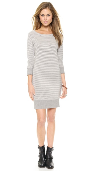 Kupi SUNDRY haljinu online i raspordaja za kupiti A casual SUNDRY dress with the look and feel of a sweatshirt. The striped french terry silhouette ends in heathered, ribbed edges. 3/4 raglan sleeves. Unlined. Fabric: Lightweight french terry. 48% cotton/48% rayon/4% spandex. Wash cold. Made in the USA. Measurements Length: 34in / 86.5cm, from shoulder Measurements from size 1. Available sizes: 1,2,3