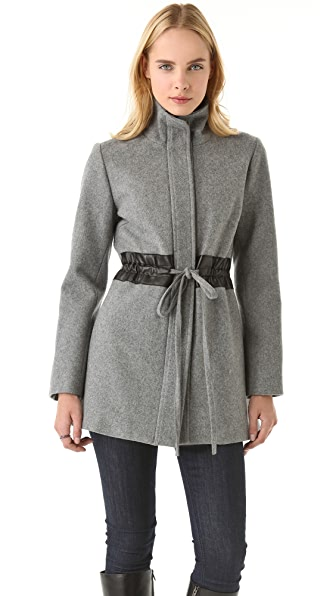 Sunner Hudson Mid Coat with Leather Trim