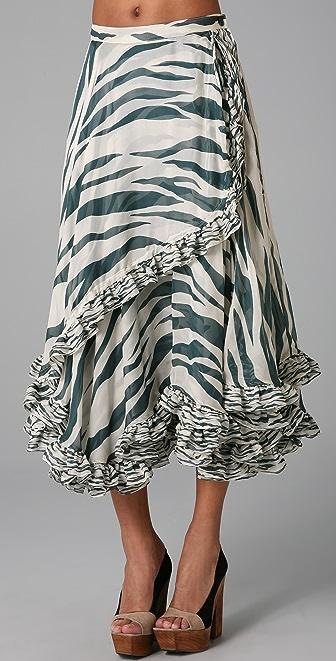 SUNO Drawstring Ruffle Skirt