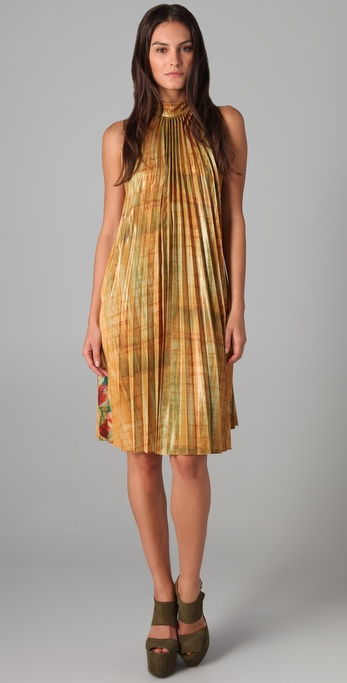 SUNO Pleated Trapeze Dress