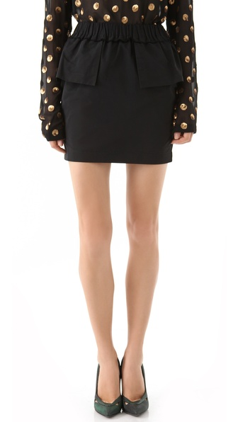 SUNO Cinched Peplum Mini Skirt