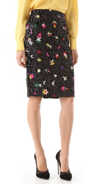 SUNO Beaded Flower Pencil Skirt