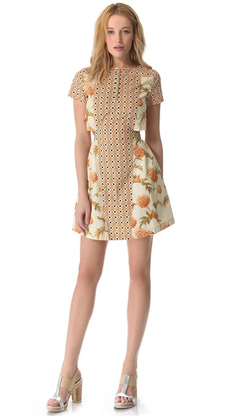 SUNO Button Collar Cutout Dress