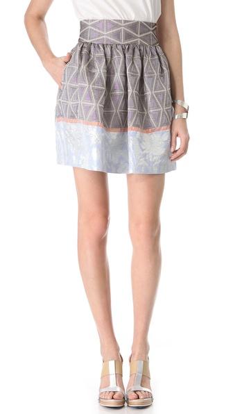 SUNO Cinched Waist Mini Skirt