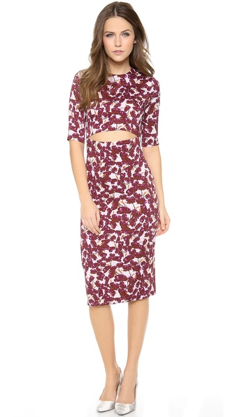 SUNO 3/4 Sleeve Floral Cutout Dress
