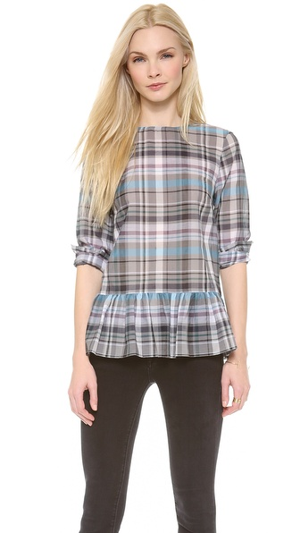 SUNO Shirred Peplum Blouse