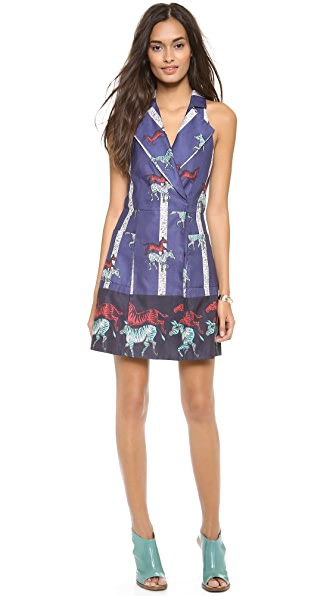 SUNO Lapel Halter Mini Dress