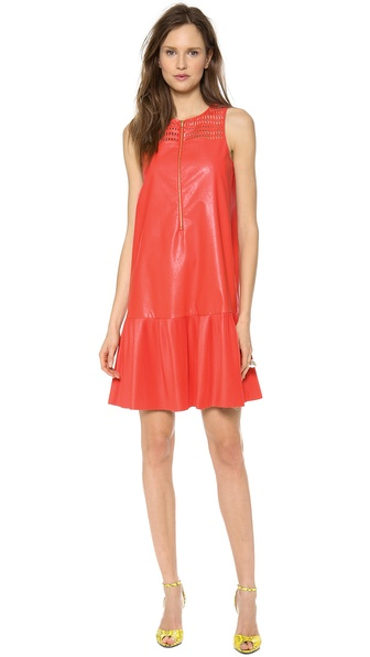 SUNO Faux Leather Pleated Hem Dress