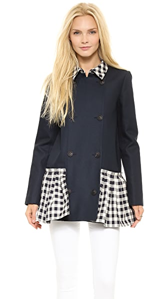 SUNO Pleated Hem Trench Coat