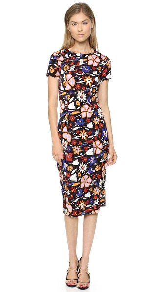 Kupi SUNO haljinu online i raspordaja za kupiti Suno Short Sleeve Dress Abstract Floral Black online