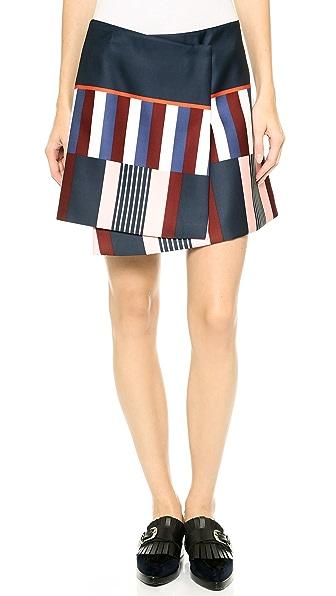 SUNO Asymmetrical Wrap Miniskirt