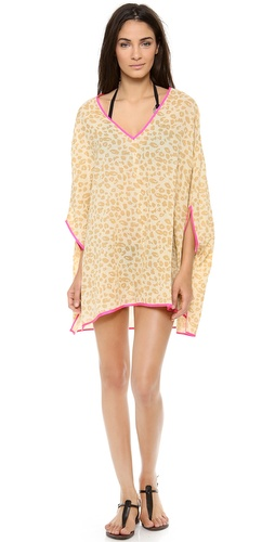 Shop Surf Bazaar online and buy Surf Bazaar Batwing Top - This leopard-print Surf Bazaar cover up is accented with neon trim. Deep V neckline. Semi-sheer.  Fabric: Plain weave. 100% cotton. Hand wash. Imported, India.  MEASUREMENTS Length: 32in / 81cm, from shoulder - Sand/Flora Print