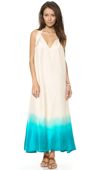 Shop Surf Bazaar online and buy Surf Bazaar Halter Maxi Dress - Shell/Kelp - A lightweight silk Surf Bazaar halter dress with an ombr?? dip dye wash. Lined. Fabric: Plain weave silk. 100% silk. Dry clean. Imported, India. Measurements Length: 54in / 137cm, from shoulder. Available sizes: One Size