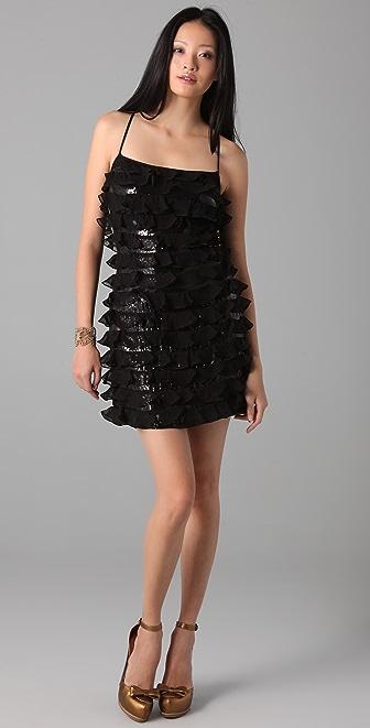 Susana Monaco Chiffon Sequined Dress