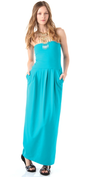 Susana Monaco Tube Pleat Strapless Maxi Dress