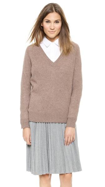 360 Sweater Luci Cashmere V Neck Sweater - Mushroom