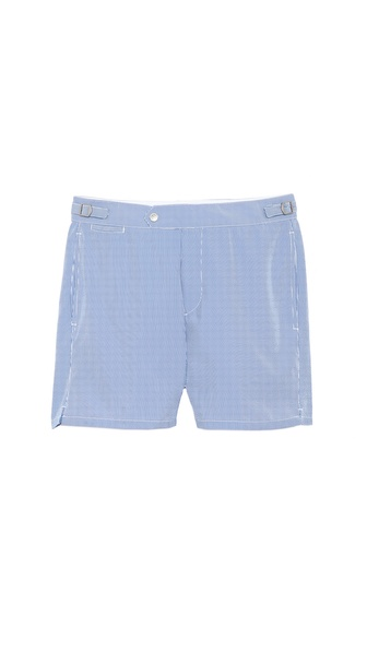 Swim-Ology Seersucker Swim Trunks