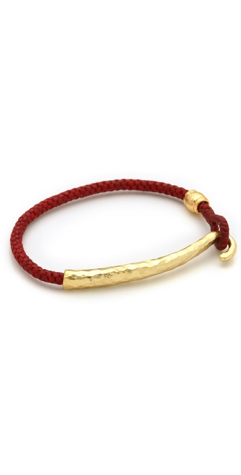 Tai Gold Hook & Woven Leather Bracelet