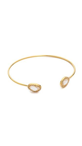 Tai Dual Pave Teardrop Stone Open Bracelet