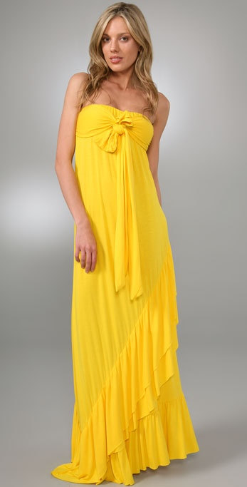 Tbags Los Angeles Tie Front Long Dress