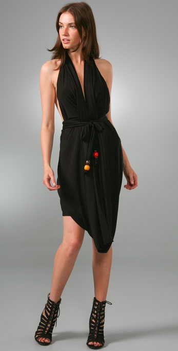 Tbags Los Angeles Belted Drape Dress