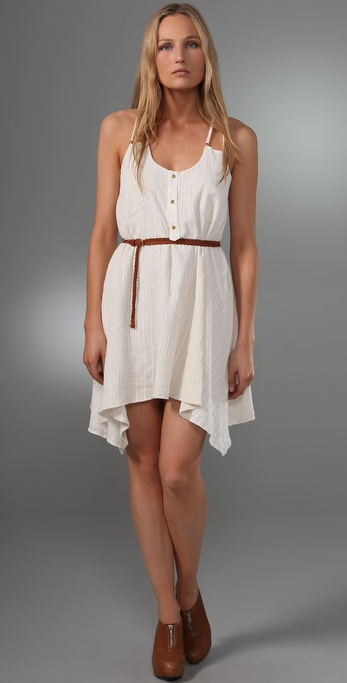 Tbags Los Angeles Double Strap Pocket Dress with Braided Leather Belt