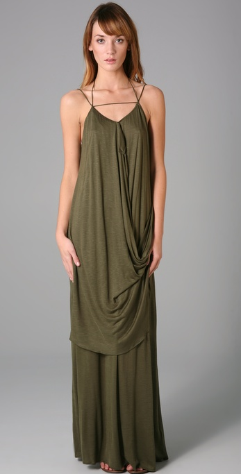 Tbags Los Angeles Draped Long Dress