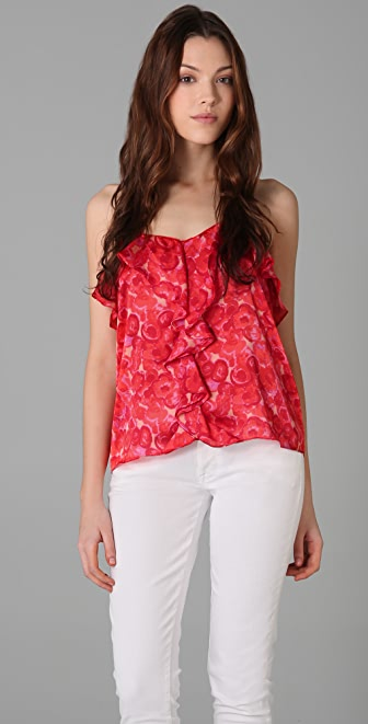 Tbags Los Angeles Ruffled Top
