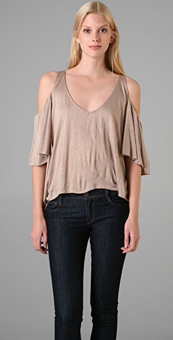 Tbags Los Angeles Draped Shoulder Top