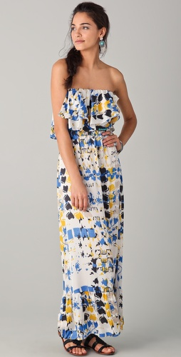 Tbags Los Angeles Ruffle Strapless Maxi Dress