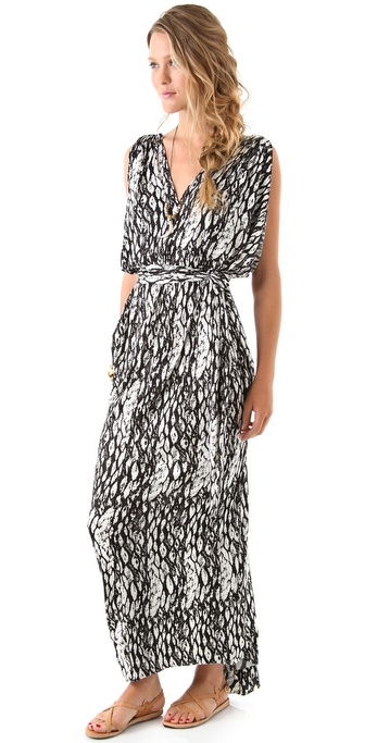 Tbags Los Angeles Gathered V Maxi Dress