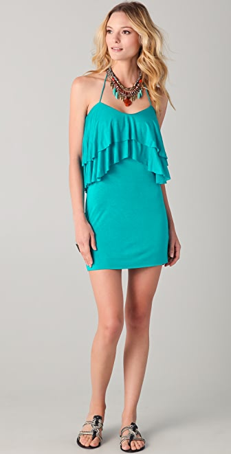 Tbags Los Angeles Halter Ruffle Mini Dress