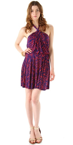 Tbags Los Angeles Print Halter Dress