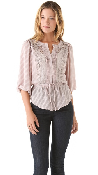 Tbags Los Angeles Button Blouse with Tie
