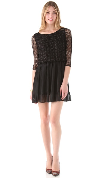 Tbags Los Angeles Lace Dress with Chiffon Skirt