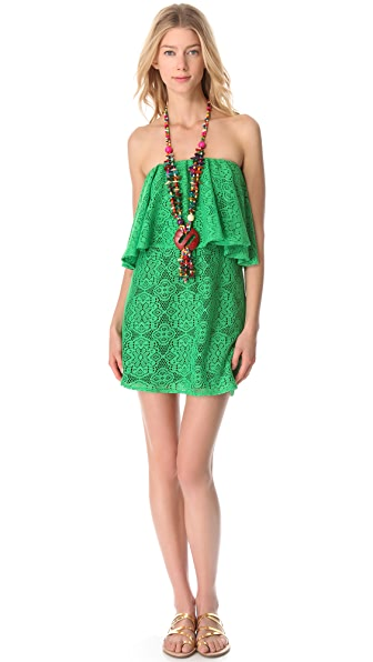 Tbags Los Angeles Strapless Crochet Necklace Dress