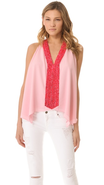Tbags Los Angeles Embellished Drape Top