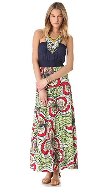 Tbags Los Angeles Print Maxi Dress with Beaded Bib