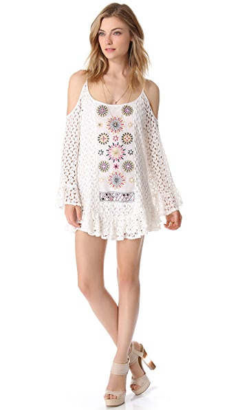 Tbags Los Angeles Crochet Mini Dress with Cutouts