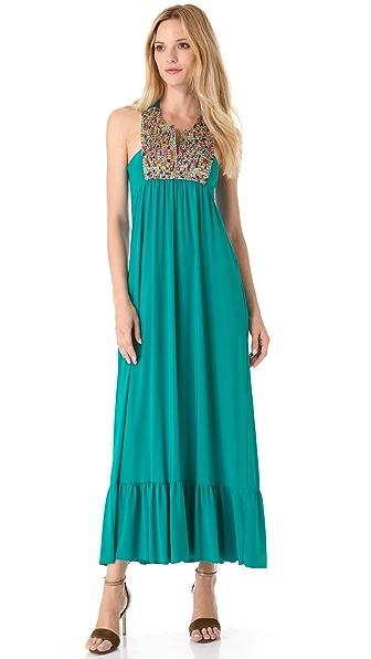 Tbags Los Angeles Embellished Bib Maxi Dress