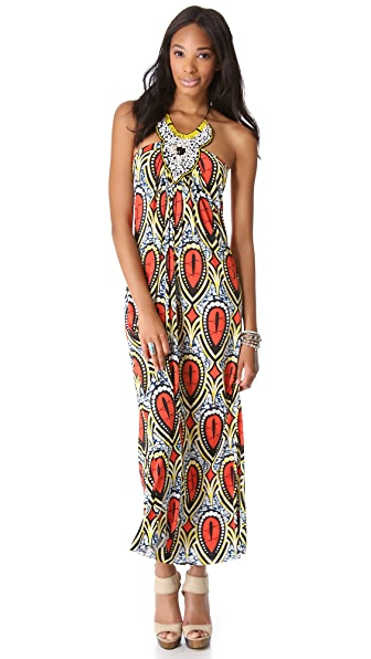 Tbags Los Angeles Embellished Halter Maxi Dress