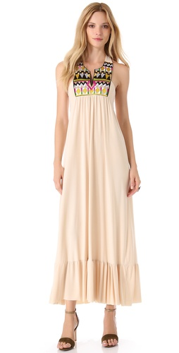 Tbags Los Angeles Embellished V Neck Maxi Dress