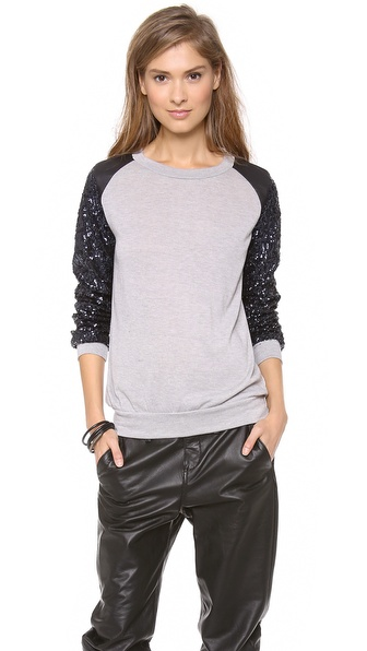 Tbags Los Angeles Sequin Sleeve Sweater
